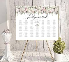 Editable Seating Chart Wedding Floral Seating Chart Wedding Guest List Table Assignment Editable Seating Seating Chart Board Seating Board Find Your Seat Sign