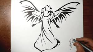 Tribal Angel Designs How To Draw A Beautiful Angel Tribal Tattoo Design Style