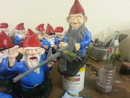 garden gnomes with s when my brain leaks the drops drip here 50cal machine gnome