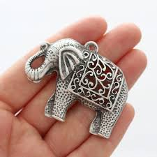 large antigue silver filigree elephant pendant silver elephant filigree animal pendant elephant natural findings elephant necklace