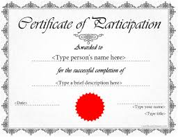 Certificate Of Participation Templates Certificate Of Participation Template Doc Major Magdalene