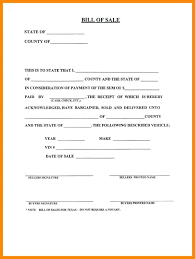 Sample Vehicle Bill Sale Or Used Car Contract Template Auto