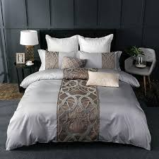 4 grey white bed sheet pillowcase duvet cover set luxury 60s egyptian cotton queen king double size bedding set bed linen teens bedding chenille bedding