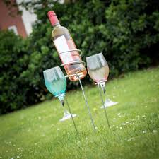 outdoor wine bottle and glass holders
