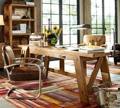 pottery barn bench style office desk rustic. Pottery Barn39s Bench Style Office Desk Rustic Look And Modern Design For Comfy Barn