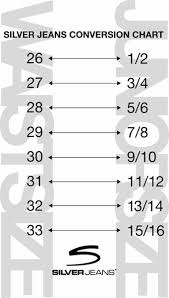 Silver Jeans Size Conversion Chart Silver Jeans Size Chart