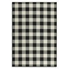 black and cream check rug