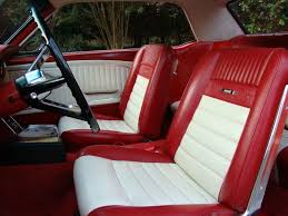 1966 mustang coupe full set pony upholstery front buckets and rear seat dark red white