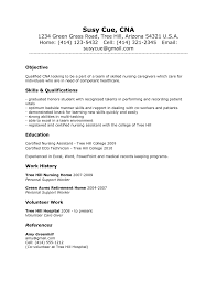 Sample Resume For Cna Cna Objective Resume Examples