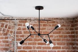 fullsize of wonderful geometric tree branch matte black chandelier pinwheel bulb sputnikmid century semi flush industrial