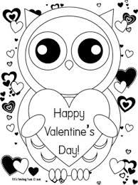Color pictures of romantic hearts, cupids, flowers & gifts, teddy bears and more! Valentine S Day Owl Coloring Page Valentine S Day Owl Theme Tpt