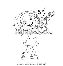 Small Picture Coloring Page Outline Cartoon Girl Playing Stock Vector 424589896