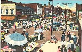 Postcard Vintage Chicago Market Maxwell By Street The Vintageplum gp6Tp5xq