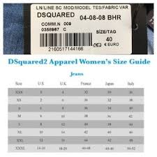 Dsquared2 Jeans Size Chart