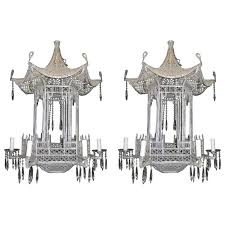 pair of italian chinoiserie paa form beaded glass and crystal chandeliers