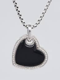 david yurman sterling silver black onyx pave diamonds cable heart pendant necklace