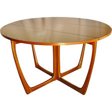 round foldable dining table in light teak 1960s
