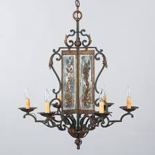 french wrought iron 6 light chandelier with eglomise glass panels 1920s p