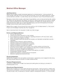 Collection Of Solutions Medical Office Manager Job Description
