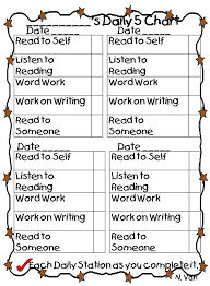 Daily Five Chart Printables Terry Meyer Tlm5876 On Pinterest