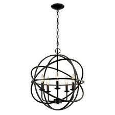 5 light rubbed oil multi ring orb bronze chandelier