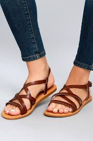 cute brown sandals brown gladiator sandals vegan leather sandals 21 00