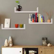 set of 3 u shape floating wall shelves storage display shelf white wooden
