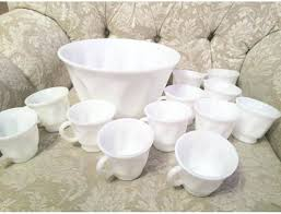 glass punch bowl set like this item pink milk glass punch bowl set