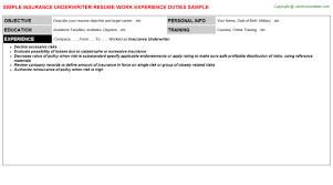 Insurance Underwriter Job Resume Sample