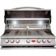 5 burner built in stainless steel propane gas grill with rotisserie