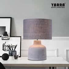 contemporary concrete table lamp bedside light grey fabric shade e27