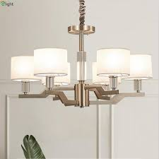 modern metal led chandeliers lighting fabric shades living room led pendant chandelier lights dining room hanging lamp fixtures stained glass chandelier