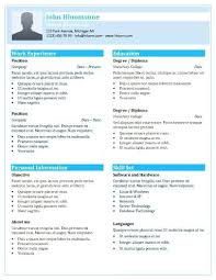 1 Page Resume Templates One Page Resume Template 2 Format For ...