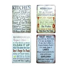 bathroom house rules poster metal tin sign coffee pub club tips vintage plaque toilet wall decor bathroom rules sign