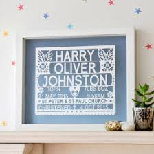 personalized christening or baptism gift papercut