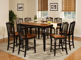 using square solid cherry wood counter height dining room table sets including black leather chair pads and solid mahogany wood tall dining chairs image