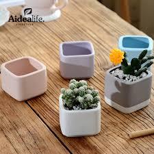 Delightful Mini Ceramic Flower Pots Planters For Succulents Indoor Modern Planters  Indoor Gardening Square White Ceramic Pot