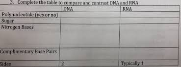 Solved 3 Complete The Table To Compare And Contrast Dna