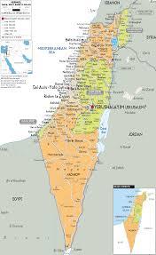 detailed political map of israel  ezilon maps