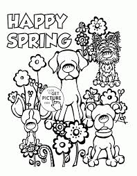 Coloring Page Happy Spring Copy Cute Dogs And Spring Coloring Page