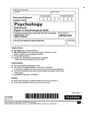 edexcel psychology paper two example papers for students to  edexcel psychology a2 paper three example papers for revision and assessment