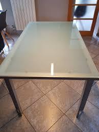 Table De Cuisine Verre Sablé Metal A Vendre 2ememainbe
