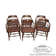 8612 ethan allen set of 6 barrel back pub style dining chairs