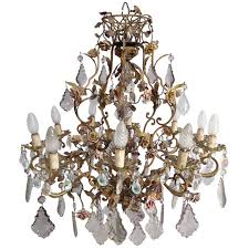 elegant brass crystal and porcelain flower chandelier for
