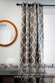 No Sew Curtains Say Chez No Sew Curtain Refresh With Thermoweb
