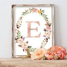 personalized nursery art girl baby gift nursery initial print blush floral nursery wall art monogram floral wreath letter rose gold on pink and gold floral wall art with though she be but little she is fierce shakespeare quote pink