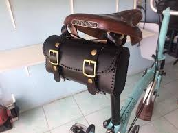 details about leather bicycle saddle bag handmade for brompton brooks vintage black