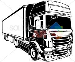 truck drawing outline. Unique Outline Stock Illustration Of Vector Black Outline Drawing Trailer Truck Angled  Frontal Facing Right On White Square Inside Truck Drawing Outline R