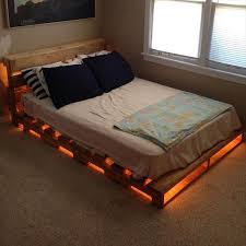 Recycled Pallet Bed with Lights: