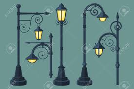 comic book lighting. Cartoon, Comic Book Vintage And Modern Street Lights Vector Set. Lamp With Curls Lighting